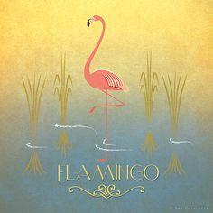 "Flamingo Print Original Design Animal Alphabet Poster Art Deco Vintage 1930's 1940's Childrens Baby Nursery 7x7"" Square Cute Beautiful Retro"