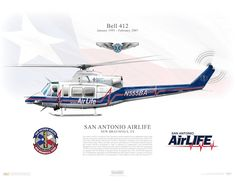 Aircraft profile print of Bell 412 - San Antonio AirLife, N555BA - Profile Print in various sizes