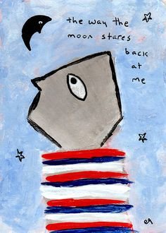 the way the moon stares back at me e9Art ACEO Outsider Folk Art Brut Painting Abstract Figurative Illustration