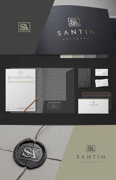 Criação de logo para advogado. Santin Advogados. Collateral Design, Letterhead Design, Stationery Design, Identity Design, Brochure Design, Business Branding, Business Card Design, Design Corporativo, Lawyer Logo