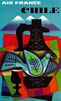 Jacques Nathan-Garamond Illustration    Air France travel to Chile poster. From Graphis Annual 63/64.
