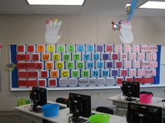 This elementary tech teacher printed the graphics on colored cardstock with the arial font at 200. She used fabric rather than paper as the bulletin board ...