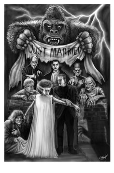 King Kong be and friends Monster Horror Movies, Classic Monster Movies, Horror Monsters, Classic Monsters, King Kong, Queen Anime, Hollywood Monsters, Monster Tattoo, Horror Artwork