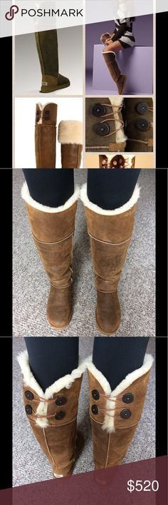 fee64d0eec4 UGG Bailey Button Bomber OTK Boots Chestnut So warm and comfortable like  wearing slippers. Fully