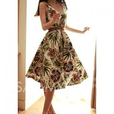 $16.64 Floral Print Retro Style Scoop Neck Sleeveless Chiffon Dress With Belt For Women
