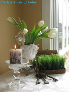 A taste of Spring - Mom has a silver tea pot like this one, I should make this table display for her.