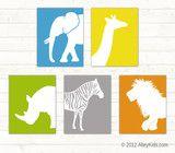 Jungle Animal Nursery Art, Set of 5 can custom about $15 each 8 x 10