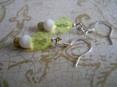 Lemon Yellow Czech Glass Earrings White Muted by chicagolandia, $12.00