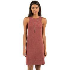 Element Juniors East Bay Sleeveless Midi Dress ($24) ❤ liked on Polyvore featuring dresses, sleeveless dress, high neckline dress, slip dress, high neck midi dress and mid calf dresses