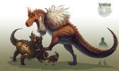 -Tyrantrum- by arvalis  -Tyrantrum, with baby Tyrunt, fighting a Bastiodon-