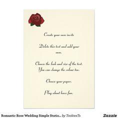 Romantic Rose Wedding Simple Stationary Invitation