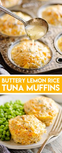 Buttery Tuna Rice Muffins Buttery Tuna Rice Muffins are a healthy and delicious recipe perfect for a quick 30 minute weeknight dinner. Tuna cakes are made in muffin tins with brown rice, sharp cheddar cheese a savory lemon butter sauce for amazing flavor. Shredded Chicken Recipes, Easy Chicken Recipes, Fish Recipes, Seafood Recipes, Beef Recipes, Dinner Recipes, Cooking Recipes, Dessert Recipes, Fish Dishes
