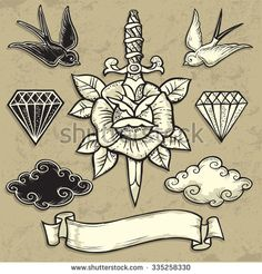 Old School Rose and Dagger. Tattoo-art design. New traditional tattoo style. Hand-drawn vector images. Good for printing on t-shirt. Easy to edit. EPS8 file. Vintage colors.