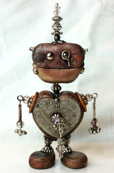 Mixed Media Polymer Clay Steampunk Robot by NyliramClayFun on Etsy
