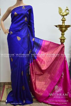 Blue pure kanchipuram silk saree with zari leaf motif on all over the saree with rich pink pallu and plain pink blouse. Whatsapp: +91 7019277192