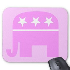Republican Woman Mousepad features GOP elephant symbol in pink. Surf your favorite websites (Breitbart...Drudge...Power Line...Hot Air) in style! #mousepad #republican #conservative #woman   Perfect for your conservative mom on her birthday or at Christmas!