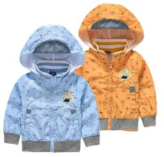 Children's Jacket Coat For Boys Double-deck Cartoon Cotton Windbreaker Hooded Baby Boys Outerwear Coats 2-8 Years Kids Clothes