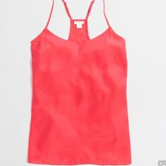 """J.Crew Camisole Top J.Crew camisole top in a """"neon pink"""". 1st pick is not color. Excellent condition! Adjustable straps. 100% poly with a silky hand. On a 2-4 mannequin and fits great. J. Crew Tops"""