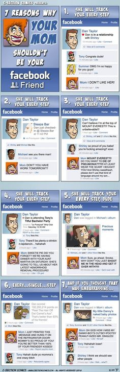 7 Reasons why YOUR MOM shouldn't be your #Facebook friend - i guess it works with other social media as well and probably belongs to a fun board ^^
