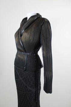 f5fab410381 Issey Miyake Pleated Shawl Collar Jacket with Pleated Column Skirt