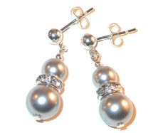 Swarovski Pearls.....Handcrafted LIGHT GRAY Pearl Earrings by CharminglyYoursToo
