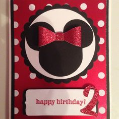 Minnie Mouse Birthday Card. Available in French