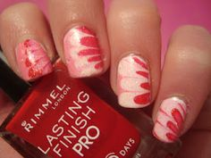 Valentines Day water marbling manicure nail art! I LOVE this! My sister is so talented! <3