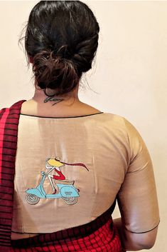 Buy Embroidered Unstitched Blouse Piece Online in India New Saree Blouse Designs, Simple Blouse Designs, Stylish Blouse Design, Blouse Back Neck Designs, Blouse Styles, Sleeves Designs For Dresses, Designer Blouse Patterns, Bollywood, Choli Dress