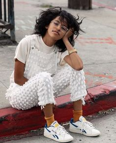 White Spotted Frayed Overalls Perfect For Summer
