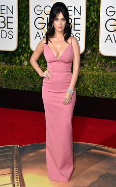 Elvira in pink. The gown is nice, but the hair - yuck! Katy Perry from 2016 Golden Globes Red Carpet Arrivals
