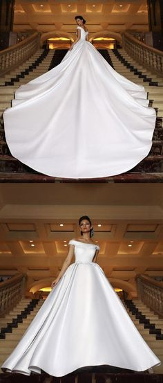Sexy Off The Shoulder Satin Ball Gowns Wedding Dresses Royal Train M3903