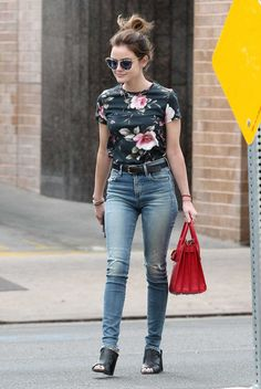 Lucy Hale was spotted out in Los Angeles, wearing a pair of skinny jeans, paired with a floral t-shirt and black peep-toe booties.