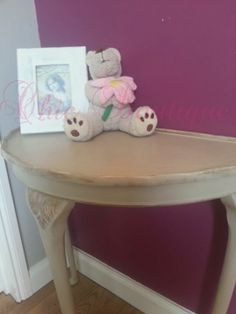 Shabby Chic Table Demilune Half Moon Lamp Hall / Side Table. Painted with Annie Sloan chalk paint in the 'Country Grey' shade with gold guilding highlights