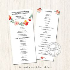Kraft Wedding Ceremony Program Bridal Party Lineup Order Of