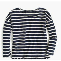 J.Crew Striped T-Shirt With Pom-Poms ($66) ❤ liked on Polyvore featuring tops, t-shirts, tees, cotton tee, stripe t shirt, blue t shirt, striped top and striped t shirt