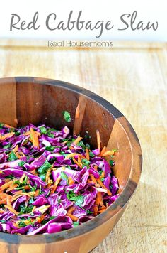 This red cabbage slaw is crispy, sweet and perfect with so many dishes.