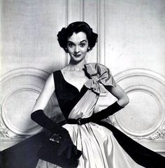 Nan Rees in a Paris fashion copy from Ohrbach's Dept. Store, photo by Nina Leen, 1951