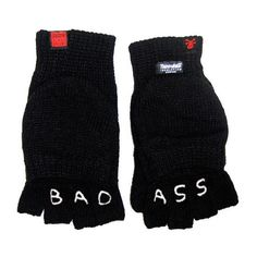 """""""Bad Ass"""" Knuckle Tattoo Gloves ($32) ❤ liked on Polyvore featuring accessories, gloves, fillers, acc, mens gloves, fingerless mittens, convertible gloves, lined gloves, cold weather mittens and knuckle gloves"""
