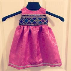 Baby girl dress hmong pink trim