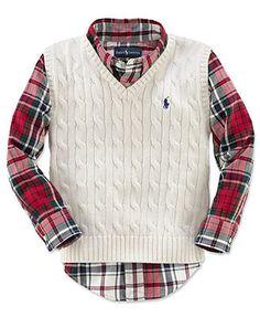 Ralph Lauren Kids Sweater Vest Little Boys Cable Knit Sweater Vest Kids Christmas Outfits Boys Toddler Boy Christmas Outfits Toddler Boy Outfits