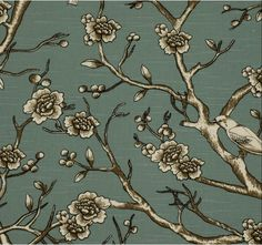 Vintage Blossom fabric in Jade from Dwell Studio. Print Wallpaper, Original Wallpaper, Flower Wallpaper, Wallpaper Designs, Modern Art Deco, Modern Decor, Bedroom Drapes, Bedrooms, Bedroom Decor