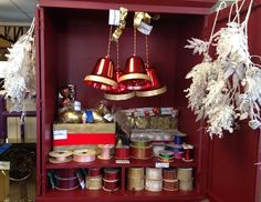 New in wrapper wired ribbon, holiday splays and glittery ormanents all half price!!!