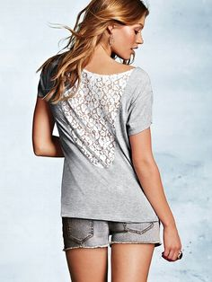 Dream Tees NEW!  Crochet-back Tee #VictoriasSecret http://www.victoriassecret.com/clothing/lace-and-crochet/crochet-back-tee-dream-tees?ProductID=108439=OLS?cm_mmc=pinterest-_-product-_-x-_-x