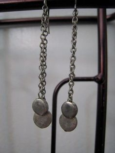 Long Vintage Sterling Silver Chain Coin Chandelier by Glamaroni, $29.00