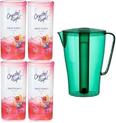 Bundle (5) Items ~ (1) Green Solfint Pitcher with Lid, 68 Oz with Removable Freezer Insert & (4) Containers of Crystal Light (Makes 48 Quarts Total), Fruit Punch - http://teacoffeestore.com/bundle-5-items-1-green-solfint-pitcher-with-lid-68-oz-with-removable-freezer-insert-4-containers-of-crystal-light-makes-48-quarts-total-fruit-punch/