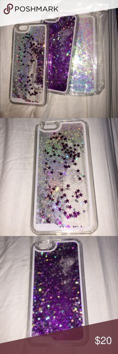 liquid glitter phone cases for iphone 6/6s francesca's liquid glitter phone cases! first one is silver glitter with pink and silver stars. second one is purple glitter with stars. last one is iridescent glitter(purple and bluish) and blue hearts. will sell single one for $8 or all 3 for $20!!! Francesca's Collections Accessories Phone Cases