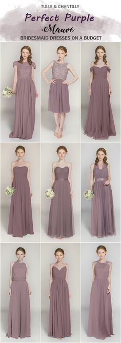 Mauve bridesmaid dresses from tulle and chantilly