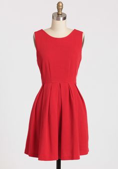 "Darling Date Pleated Dress 54.99 at shopruche.com. Rendered in a breezy cotton blend, this vintage-styled red dress will have all eyes on you with subtle texture and a pleated skirt for graceful movement. Hidden back zipper closure. Fully lined.35% Polyester, 65% Cotton, 100% Polyester, 33"" length from top of shoulders"