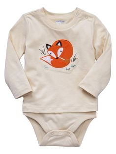 Baby Gap embroidered fox onesie
