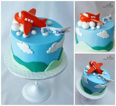 UP UP AND AWAY - PLANE CAKE It has been another busy week with one of our cakes being this butter cake with handmade aeroplane topper to help celebrate a very special baby shower Airplane Birthday Cakes, 2 Birthday Cake, Airplane Cakes, Airplane Baby Shower Cake, Fondant Cakes, Cupcake Cakes, Bolo Fack, Planes Cake, Rodjendanske Torte